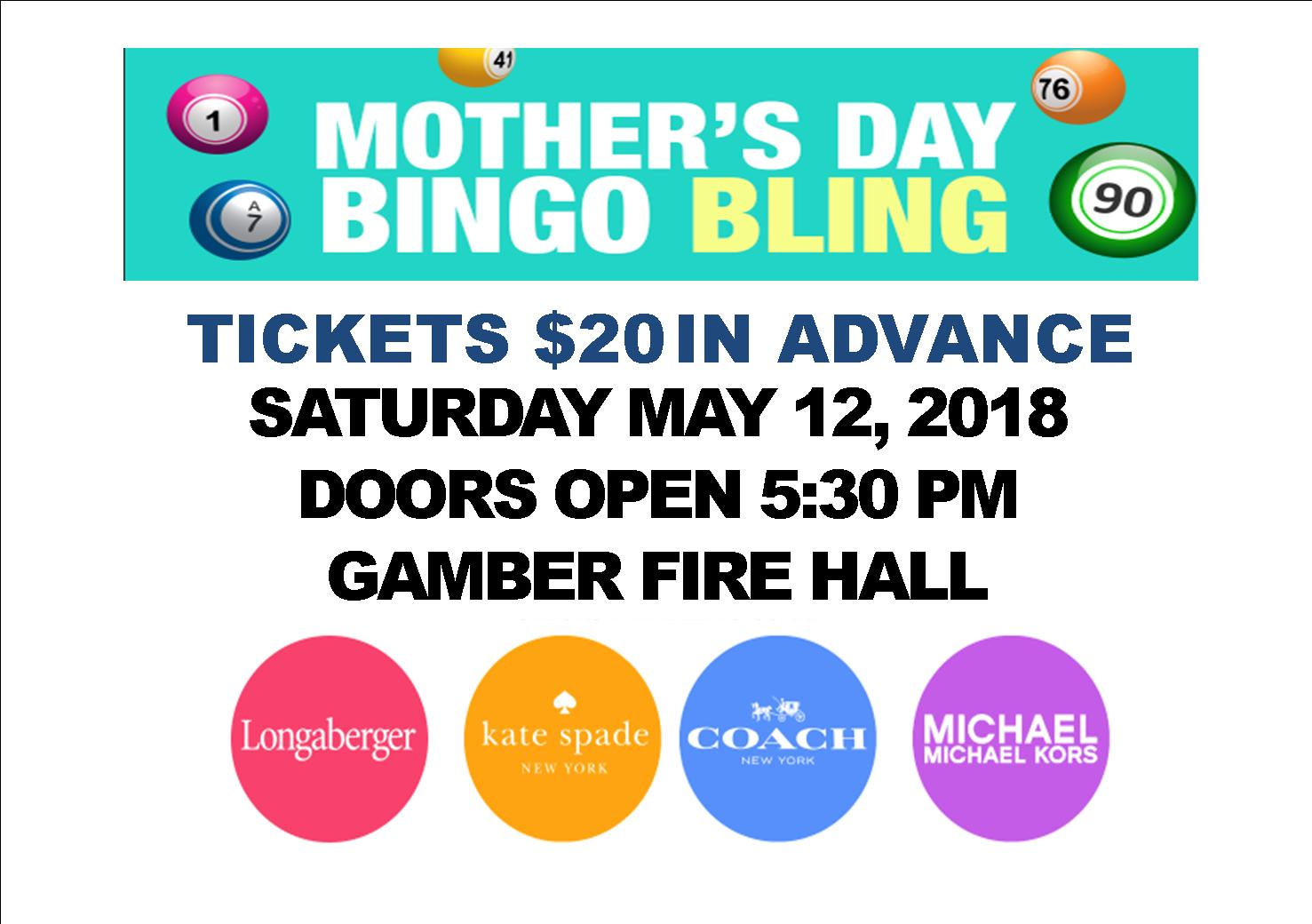 Mother's Day BINGO Bling May 12, 2018 - Tickets On Sale NOW $20 in advance.